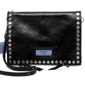 Prada studded leather shoulder bag in Black